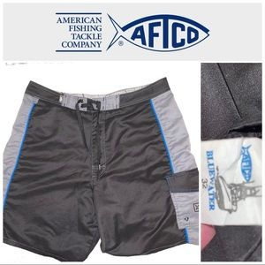 "Size 32"" AFTCO Black-Gray Board Shorts"